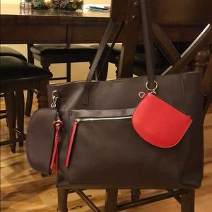 Mondani New York Celia Leather Tote: Dark Ruby/Red